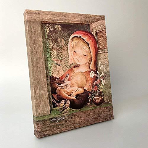 Virgen provenzal 30x40cm. Ilustración de Juan Ferrándiz impresa en lienzo. Serie limitada y numerada. Regalo Comunión y Bautizo