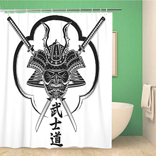 Awowee Decor Duschvorhang, Helm und Samurai-Maske, Paar, Katana-Inschrift, Bushido Hieroglyphen, 180 x 180 cm, Polyester, wasserdicht, Badvorhänge Set mit Haken für Badezimmer