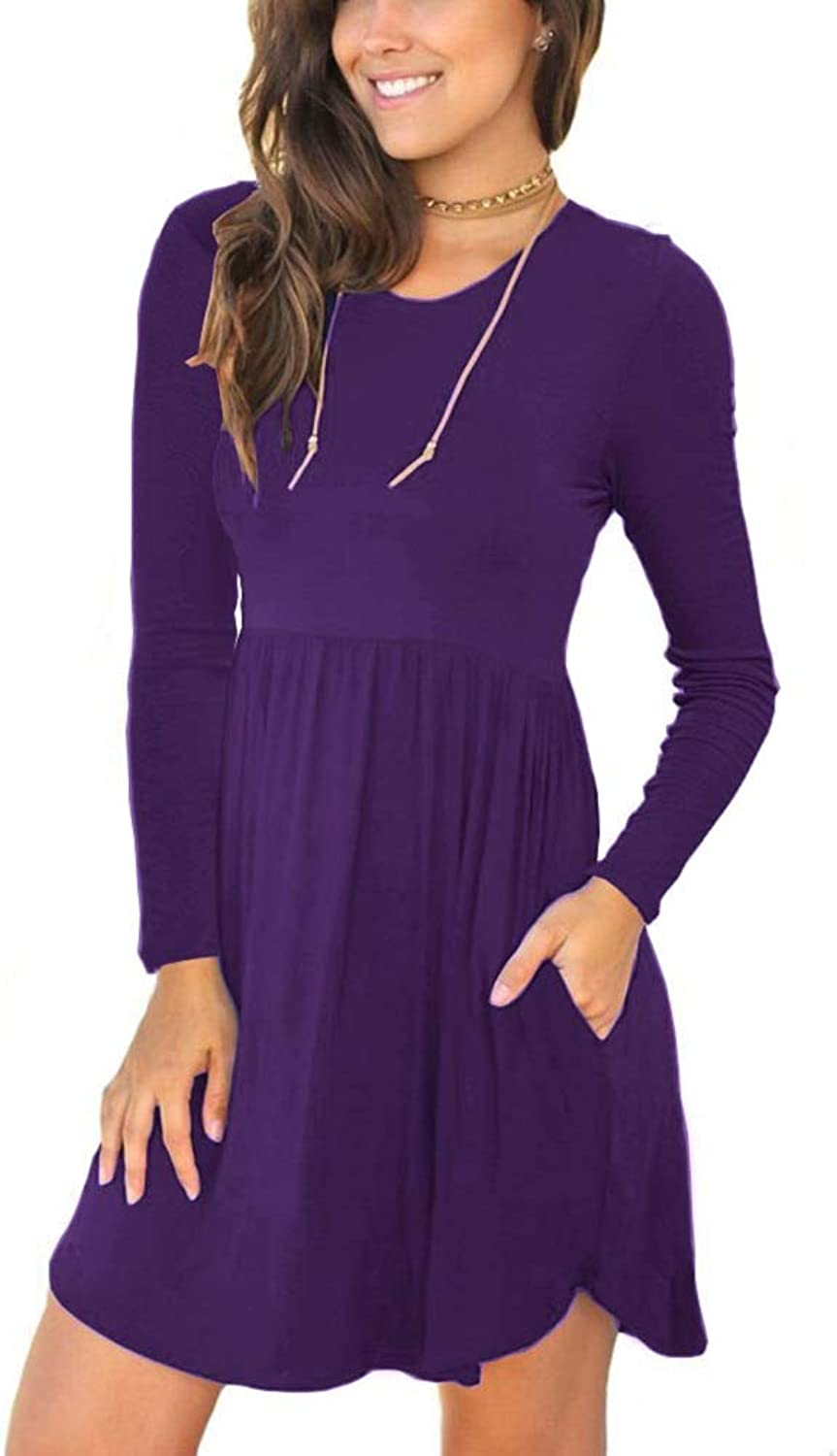 Alizco Women's Casual Swing Long Sleeves Pockets Loose Dresses