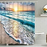 バスルームデジタル印刷防水ポリエステル繊維(ポリエステル)カーテンタペストリー、カスタマイズ可能なパターンとサイズのシャワー(180 X 180センチ) 8