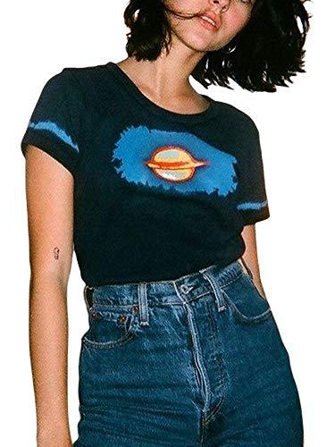 Camiseta de manga corta para mujer, diseño gótico con estampado gráfico y cuello redondo, sexy y delgada, para mujer