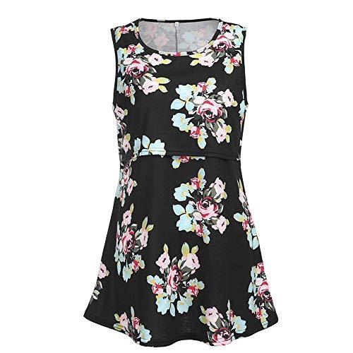 DQAW Damska bluzka do karmienia piersią bez rękawów, nadruk kwiatowy, wygodna, moda ciążowa