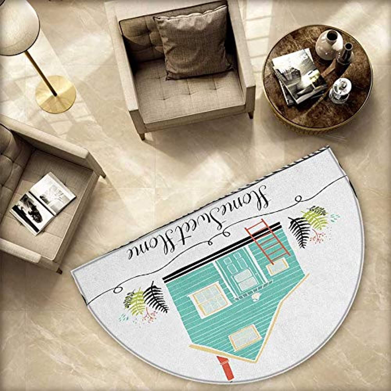 Home Sweet Home Semicircle Doormat Small House in The Countryside Rustic Theme Fern Leaves Grunge Doodle Frame Halfmoon doormats H 78.7  xD 118.1  Multicolor