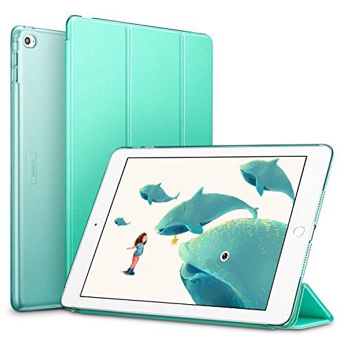ESR iPad Air 2 Hülle, Auto aufwachen/Schlaf Funktion Wickelfalz Ledertasche mit Lichtdurchlässig Rückseite Abdeckung Schutzhülle für iPad Air 2 / iPad 6 (MintGrün)
