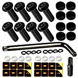 ZXFOOG Black License Plate Screws- Anti Theft License Plate Bolts for Fastening Car Tag Frame Holder, 1/4' Stainless Steel Security Plate Mounting Hardware Kit- Screws Caps, Nuts, Rattle Proof Pads