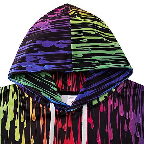 Rave on Friday Mens Hoodies 3D Colorful Printed Black Sweatshirt Personalised Pattern Women Pullover with Big Pocket Loose Sportswear S-M