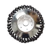 Noblik - Cepillo de alambre de acero con 8 ruedas para jardín, cortacésped, cortacésped, cortador de hierba, cortador de cepillo, herramientas para quitar malas hierbas
