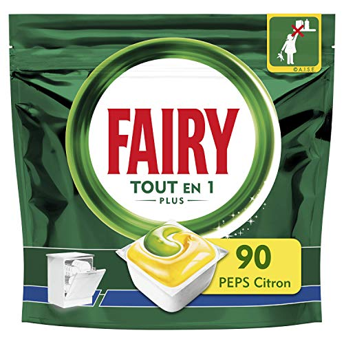 Fairy Tout-en1 Plus Pastilles Lave-Vaisselle, Peps Citron Défie les taches les plus coriaces, 90 Doses
