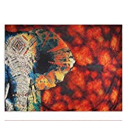 HYTGDタペストリー 壁掛赤いタペストリー花と象のプリント壁掛けタペストリー部屋の装飾