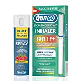 QuitGo Dual Support Quit Kit with Smoke-Free Soft Tip Inhaler, Herbal Relief & Recover Spray to Help Stop Smoking (Fresh Mint, Dual Support)