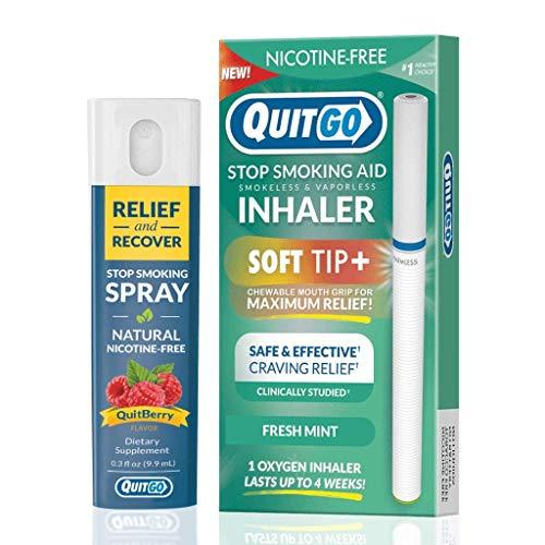 QuitGo Kit de doble soporte para dejar de fumar con inhalador de punta suave sin humo, alivio de hierbas y recuperación spray para ayudar a dejar de fumar (menta fresca, paquete doble)