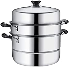 CPWJD Steamer 304 Stainless Steel 3 Layer Double Bottom Thickening Household Three-layer Multi-layer Steamer Pot (Color : ...