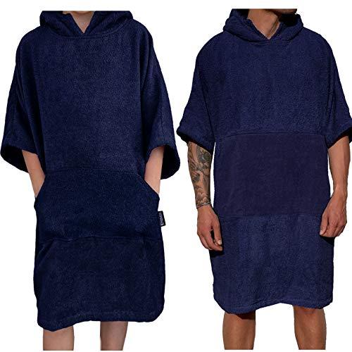HOMELEVEL Poncho de surf unisex 100 % algodón, poncho de playa, poncho de baño, poncho, toalla de playa, toalla de rizo con capucha azul oscuro L-XL ⭐