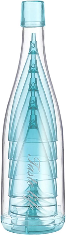 5 Piezas Copas de Champán Juego Apilables,Flautas de Vino Irrompibles Reutilizables con Botella Envase,Elegante Cubilete de Copa Transparente,Perfecto para Fiesta,Boda,Cumpleaños,Aniversario