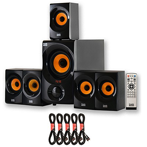 Acoustic Audio AA5170 Home Theater 5.1 Bluetooth Speaker System with FM and 5 Extension Cables, Black