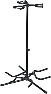 Triple Guitar Stand, Musician's Gear, Electric Acoustic and Base Holder, Traditional Cradle Rest Stand. Black