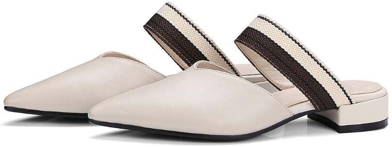 MYI Damenschuhe Koreanische Casual Sommer Leder zurück und Coole Hausschuhe Flach mit Spitzen Schuhen