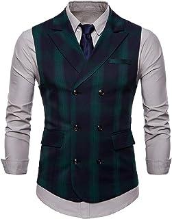 MISSMAO Mens Vintage Slim Fit Check Grey Tan Brown Waistcoat Smart Casual Tweed Check