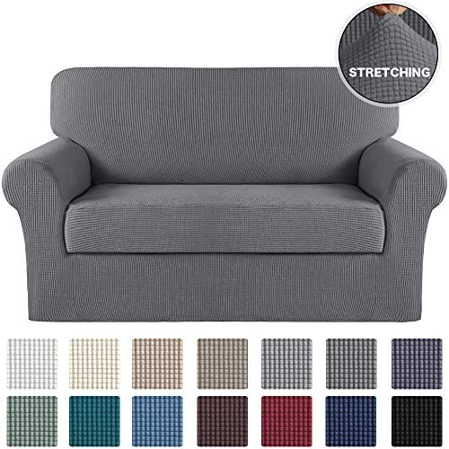 Best Turquoize 2 Piece Couch Covers for Furniture Sofa Protector Cover with Separate Cushion Cover with J