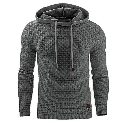 Zaitun Mens Hooded Sweatshirt Long Sleeve Solid Knitted Hoodie Pullover Sweater (Dark Gray, M)