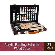 Darice 745566281561 1103-083 Studio 71, 27 Piece Acrylic Painting Set, Wood Box, Brown