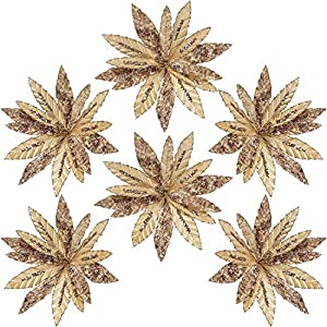 Sea Team 6-Pack Artificial Glitter Poinsettia, Flower Sticks, Christmas Flower Ornaments, Floral Stems, Picks, Branches, Xmas Tree Decorations for Holiday, Party, Wedding, 10-inch, Champagne