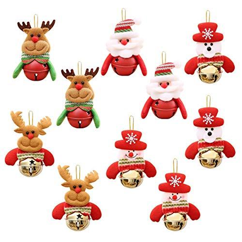 PHOGARY Paquete de 10 Bola de Campana de Navidad, Campanas Colgantes con Cuerda para ÁRbol de Navidad y Puerta, Muñeco de Nieve/PapÁ Noel/Oso/Campanas de Oro de Alces