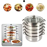 OUKANING Stainless Steel 5 Levels Steamer with Glass Lid 28cm Diameter Steamer Stainless Steel for Bar or Restaurant (26CM)