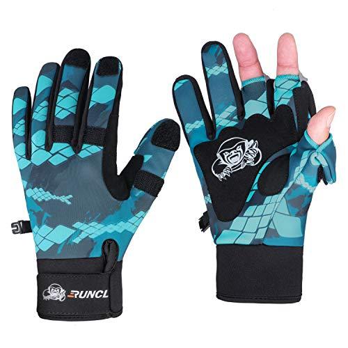 RUNCL Fishing Gloves Winter RAGUEL, Touchscreen Outdoor Fishing Gloves, Neoprene 3 Cut Finger Cycling Gloves, Convertible Windproof for Men Women Ice Fishing Photography Kayaking (Blue XXL)