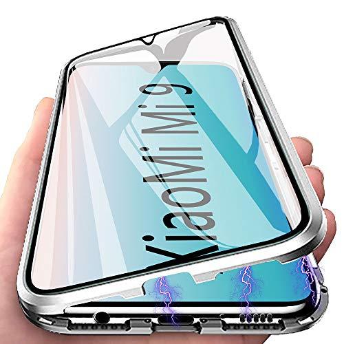Funda Xiaomi Mi 9 transparente, funda para Xiaomi Mi 9 de absorción magnética, doble cara, cristal templado, tapa magnética, metal con protección de cámara, funda ultra resistente a los golpes