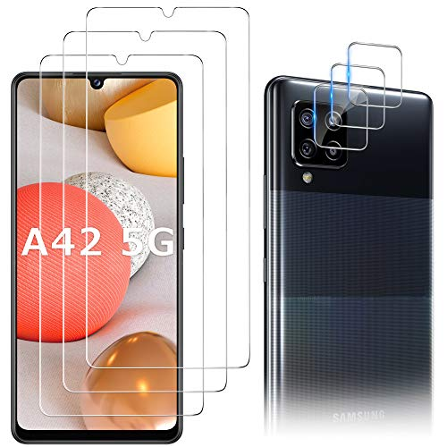 Luibor [6 in 1] Vetro Temperato Samsung Galaxy A42 Pellicola Protettiva + Pellicola Fotocamera,[9H] [Strumento di Installazione Facile] [HD Chiaro][Protezione Completa] 5G