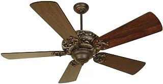 Craftmade K10725 Downrod Mount, 5 Distressed Walnut Blades Ceiling fan, Aged Bronze/Vintage Madera