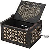 Huntmic Can't Help Falling in Love Wood Music Box, Antique Engraved Musical Boxes Case for Birthday Present Kid Toys Hand-Operated (Black)