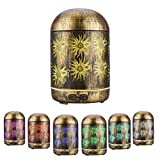 JVJH 300ml Diffusore Di aromi Aromaterapia Humidifier ultrasuoni Diffusore di olio essenziale Metallo Vintage con luci LED a 7 colori e spegnimento automatico senz'acqua per Home Office e Yoga