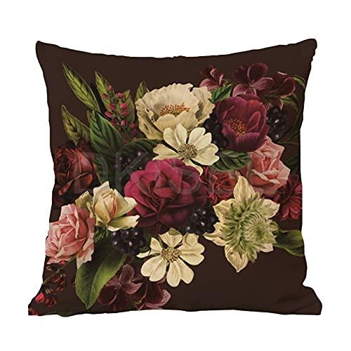 DKISEE Funda de almohada de algodón y lino, color rojo burdeos, granate verde y crema flores cuadradas, funda de cojín decorativa para sofá, coche, decoración de cama de 22 x 22 pulgadas