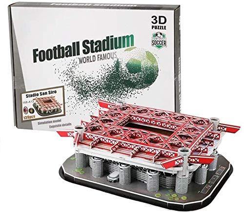 ZJ Exquisites 3D-Puzzle des Stadions – Erwachsene/Kind DIY Puzzle, 3D-Fußballfeld-Modell, Emirates-Stadion, Camp NOU, Bernabeu-Stadion, San Siro-Stadion (30 cm x 4 cm x 22,5 cm) Mode