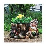 Design nain 15198 avec pot fleur 16 cm de haute décoration jardin jardin décor de figures naines