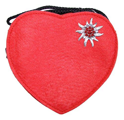 Trachtenland Herz Trachtentasche mit Edelweiß Rot