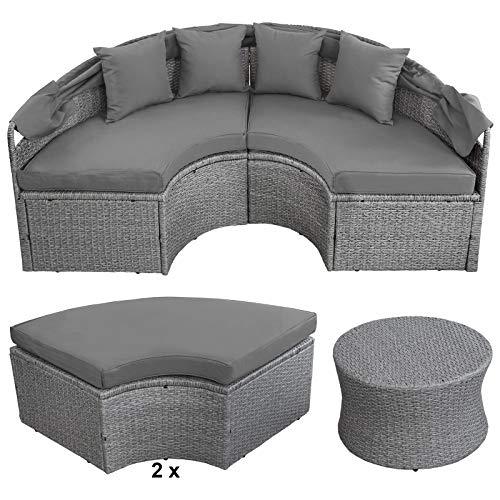 Montafox 13-teilige Polyrattan Lounge Muschel Sonneninsel Sonnendach Klappbar Zierkissen Auflagen 10 cm Dicke, Farbe:Kieselstrand - 5
