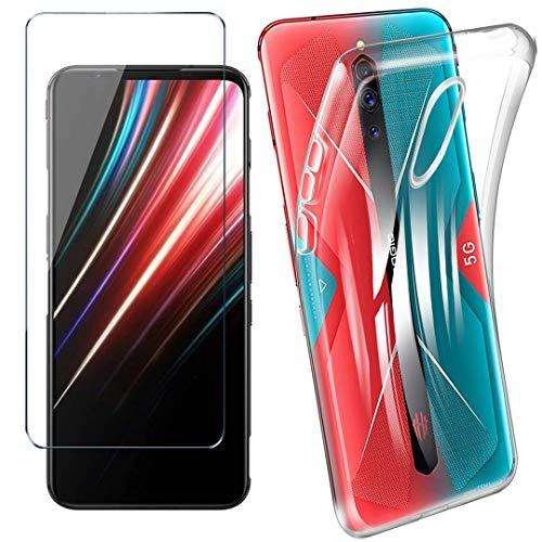 HYMY Hülle für Nubia Red Magic 5G + 1 x Schutzfolie Panzerglas - Transparent Schutzhülle TPU Handytasche Tasche Durchsichtig Klar Silikon Hülle für Nubia Red Magic 5G (6.65