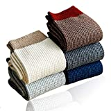 Men's 100% Cotton Knitted Socks Dress and Casual & Mens All-season Crew Socks Pack of 5