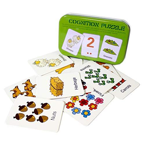 Gobus 30pcs Flash Card cognizione Puzzle Carte Storia Parole Forma Abbinamento Puzzle educazione precoce Carta apprendimento Giocattoli in Una Scatola (Numeri e Animali)