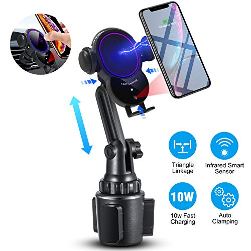 [Upgraded]Cup Phone Holder Wireless Car Charger Mount,WALOTAR Triangle Linkage Infrared Smart Sensing Qi 10W Fast Charging Cell Phone Mount,Universal Adjustable Auto-Clamping Car Phone Air Vent Cradle