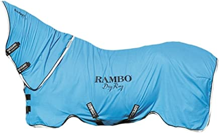 (Blue/Black/White, Cob) - Rambo Dry Rug Supreme - Horse Pony Polar Fleece Comfortable Equestrian Cooler
