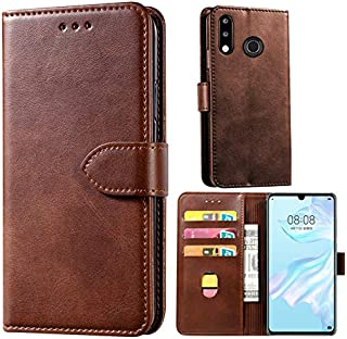 WorldMom for Huawei P30 Lite Case, Wallet Case with Card Slot Holder Handbag Purse Wrist Strap Premium Leather Kickstand Shockproof Protective Cover for Huawei P30 Lite,Brown