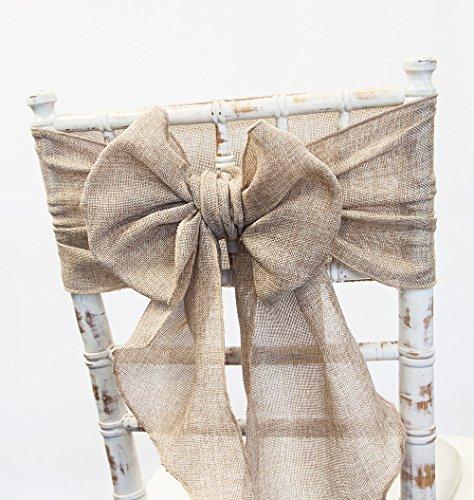 Rubans en toile de jute pour chaises et chemins de table assortis - 15 couleurs - Décoration de mariage et autres événements, Lin, 15 couleurs disponibles., Sash - Natural