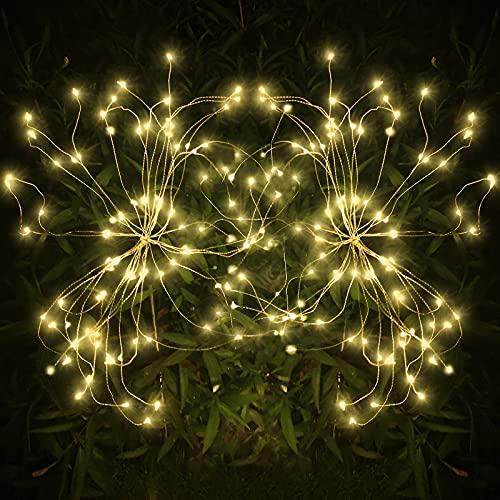 Luces de Jardín Solar, 105 LED Exterior Solares Fuegos Artificiales Luces, DIY Paisaje Decoración Luces Lmpermeable para jardín, césped, Patio(Blanco Cálido, 2 pack)