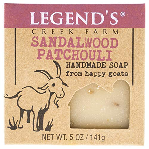 Legend's Creek Farm, Goat Milk Soap, Moisturizing Cleansing Bar for Hands and Body, Creamy Lather and Nourishing, Gentle For Sensitive Skin, Handmade in USA, 5 Oz Bar (Sandalwood Patchouli O.S.)