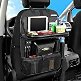 NIANPU Car Backseat Organizer, Car Seat Back Protector Kick Mat with 4 USB Charging Port and Foldable Tray,Multiple Durable Pocket to Keep Toys, Bottles,for Kids,Toddlers(Black)