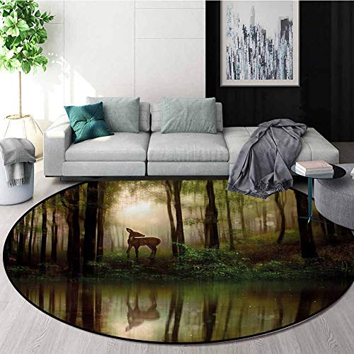 New RUGSMAT Nature Anti-Skid Area Rug,Baby Deer in The Forest with Reflection On Lake Foggy Woodland...